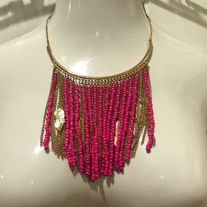 Pink Fringe Statement Necklace